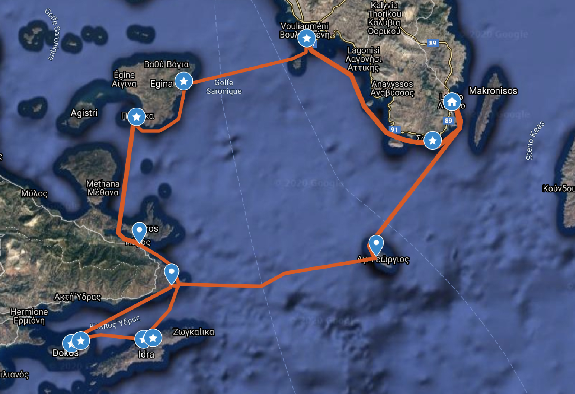 Suggested route Saronic Gulf from Lavrion